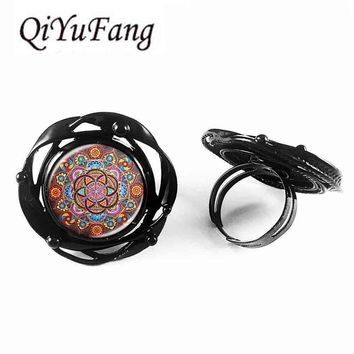 Steampunk flower big ring mandala chakra OM jewelry women glass cabochon Zen gift jewellery flower of life man