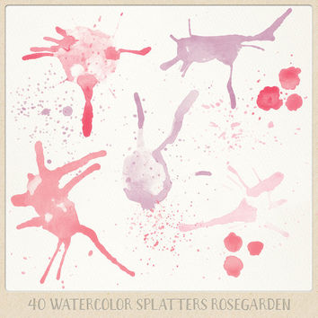 Watercolor clipart splatter splashes (40) pink red and purple. hand painted photo overlays scrapbook design blogs cards printables wall art
