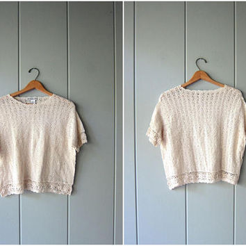 80s Open Knit Cotton Top Cut Out Woven Knit Top SHEER Crochet Shirt Natural White Knit Boxy Top Vintage Minimal Thin Sweater Womens Large