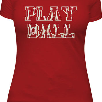 Play Ball glitter shirt, baseball mom, softball, tball tee, player, fan
