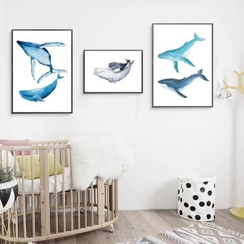 Watercolor Whale Dolphin Painting Wall Art Print Pictures, Hand Painted Whale Canvas Painting Poster Bathroom Art Decoration