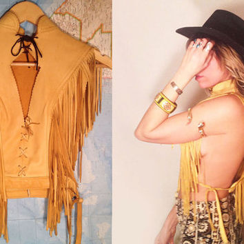 Vintage Native American Fringe Deerskin Dance Capelet Poncho || Size Small + One size Handcrafted Tribal Halter