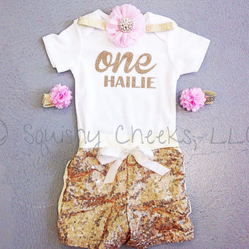 Gold and Pink Sparkle 1st Birthday Outfit, Includes: Bodysuit w/Name & Number, Headband, Sandals and Sequin Shorts, Vintage Gold Birthday