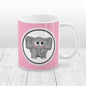 Adorable Elephant Mug - Pink Background - Cute Gray Elephant - Pink Elephant Mug - 11oz or 15oz Pink Mug - Made to Order