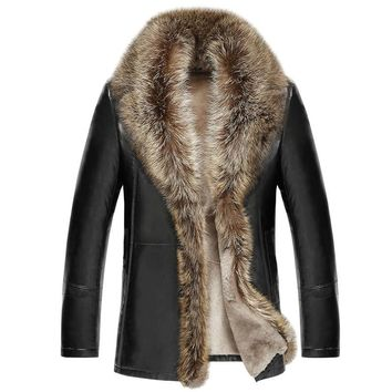 2017 Brand Mens Fur Coat Shearling Genuine Leather Raccoon Fur Sheep Skin American Raccoon Fur Mens Business Coat Warm MT311