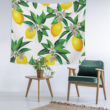 Lemon Tree Tropical Trendy Home Decor Custom Printed Unique Dorm Decor Apartment Decor Trendy Wall Art Printed Wall Hanging Wall Tapestry