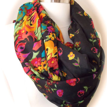 Summer flower scarf/flower infinity scarf/colorful flowers/black scarf
