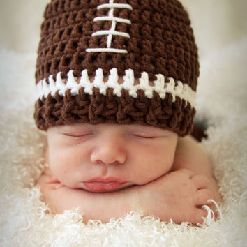 Crochet Football Hat football beanie by BitofWhimsyCrochet