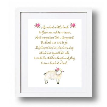 Nursery Rhyme Prints Nursery Rhyme Decor Printable Pink Gold bedroom wall decor Lamb wall decor Mary had a little lamb 5x7 8x10 11x14 16x20