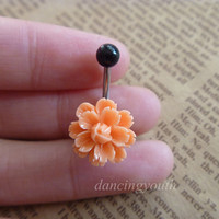 Beatiful Flower Belly Button Ring, Belly Ring,