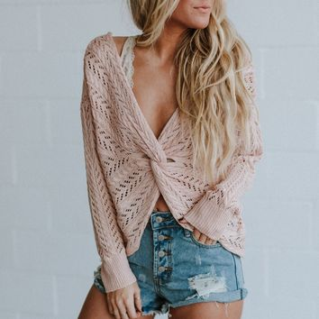 Lana Cable Knit Twist Sweater - Blush