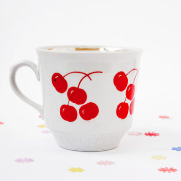Soviet Cherry TeaCup / Cute USSR Vintage Gold Tipped Porcelain Mug With Red Cherry Print / Adorable Red Polka Dot Tea Cup, Coffee Cup