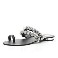 River Island Womens Black leather gem embellished loop sandals