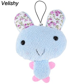 Velishy 1 PC New Kawaii  Cute Keychain Plush Stuffed Rabbit For Phone Decor Bags Parts Accessories Color Random