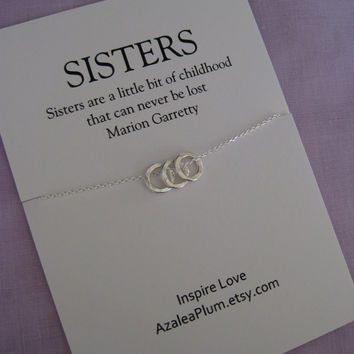 30th Birthday SISTERS Jewelry. Three Sisters necklace . Delicate STERLING silver. Sister Gift. Maid of Honor Sister. Sisters. 3 Sisters.