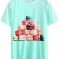 Green Colorful Macaron Printed T-shirt