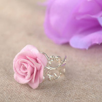 Beautiful handmade plastic ring flower ring cool jewelry polymer clay ideas