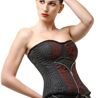 Plus Size Red Zip Floral Patterned Jacquard Over Bust Corset