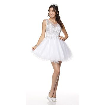 Juliet 789 Scoop Neck Appliqued Bodice Short Prom Dress White