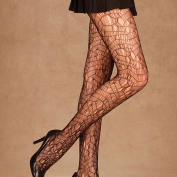 Ripped Net Pantyhose (One Size,Black)
