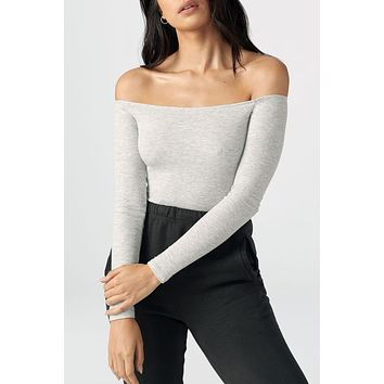 Joah Brown Bare Shoulder Long Sleeve