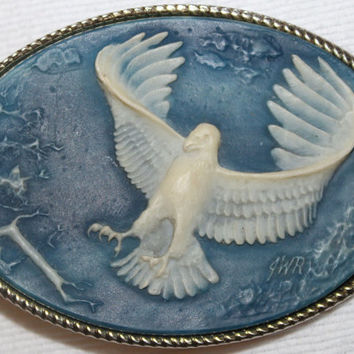 Vintage Eagle Genuine Incolay Stone Belt Buckle Gold Tone Western Biker USA