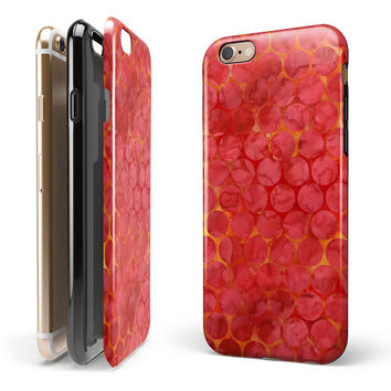 Red Sorted Large Watercolor Polka Dots iPhone 6/6s or 6/6s Plus 2-Piece Hybrid INK-Fuzed Case