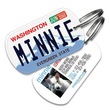 Washington License Plate Pet Tag - Personalized Pet ID Tags, Custom Dog Tags, Cat ID Tag, Dog Name Tags, Dog Tags for Dogs, Dog License Tags