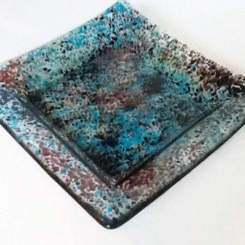 Unique Wedding Decor - Fused Glass Plate - Candle Plate