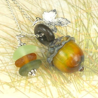 Eco Friendly GENUINE Sea Glass Jewelry Lampwork Acorn Bead Necklace