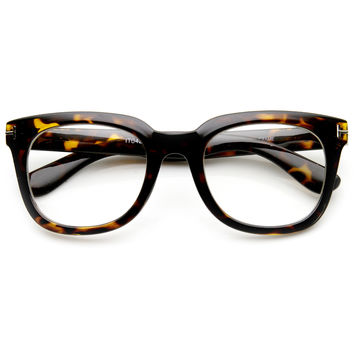 Large Retro 1950's Clear Lens Thick Horned Rim Glasses 9265