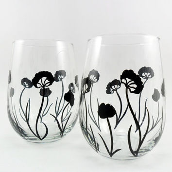 Stemless Wine Glasses Black Flower Design Hand Painted Set of 2