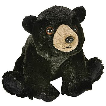 8 Inch Black Bear Stuffed Animal Plush Floppy Zoo Species Collection