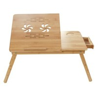 Songmics 100% Bamboo Adjustable Laptop Desk/Table Breakfast Serving Bed Tray w' Tilting Top Drawer ULLD001