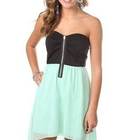 chiffon strapless high low dress with exposed zipper front - debshops.com