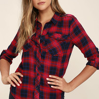 Fiance Red Plaid Flannel Top