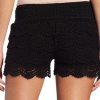 Jolt Juniors Scallop Crochet Short, Black, Large