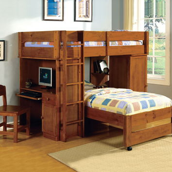 Furniture of america CM-BK529OAK Harford ii oak finish twin over twin loft bed with built in computer desk and chair with front access ladder