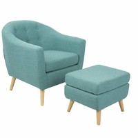 Rockwell Mid-Century Modern Chair With Ottoman Included in Teal by LumiSource