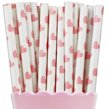 Light Pink Heart Paper Straws