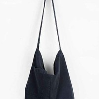 Ecote Yarah Embroidered-Strap Canvas Hobo Bag- Navy One