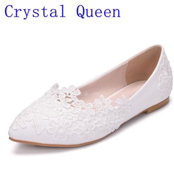 Crystal Queen Ballet Flats White Lace Wedding Shoes Flat Heel Ca 5063a34c9d32