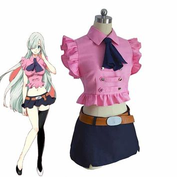 Anime The Seven Deadly Sins Elizabeth Liones Cosplay Costumes Cute Women/Girls Uniforms Clothing Tops+Skirts+Tie+Belt Sets