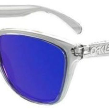 OAKLEY 9013 FROGSKINS 24-305 CLEAR SUNGLASSES SOLE VIOLET IRIDIUM CLEAR
