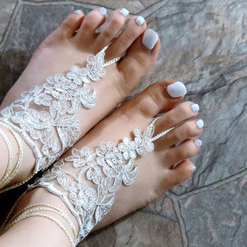 Lace sandals, beach shoes, bridal sandals, wedding bridal, barefoot sandles, Ivory accessories, wedding shoes, Ivory Wedding sandles