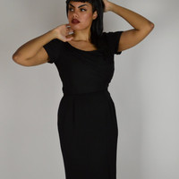 Vintage Cocktail Dress,  Black Cocktail Dress, 40's Cocktail Dress, Holiday Dress, Wiggle Dress, Fitted Dress, Size: Large