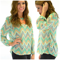 River Side Chevron Green Tribal Top