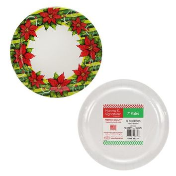 "Poinsettia Wreath - 7"" Paper Plates - 16-Packs - 36 Units"