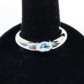 Vintage Blue Topaz Ring, Sterling Silver 925 Band, Solitaire Topaz Gemstone Jewelry