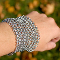 Extra Wide Shiny Silver Chainmaille Cuff - Ready to Ship - Fast Shipping